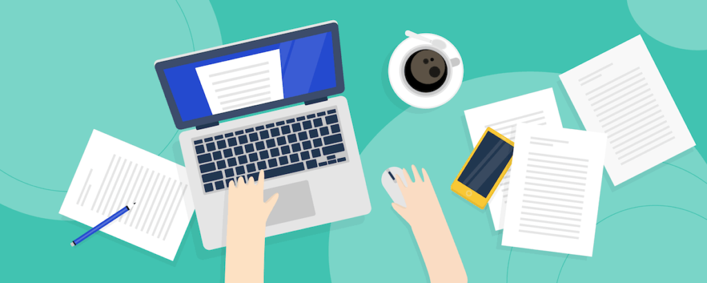 graphic of laptop sitting on a mint green background with papers, a cup of coffee, and a cell phone by it.